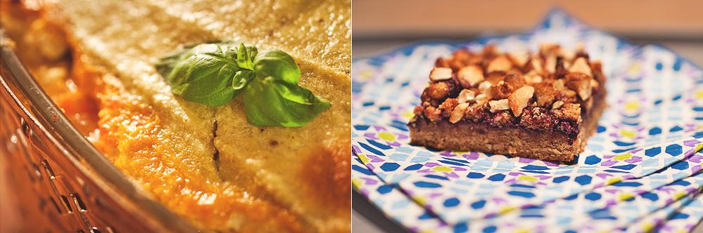 Vegansk lasagne till vänster, Cashew & Blåbärsrutor till höger.
